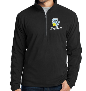 Men's 1/4 zip Fleece Jacket-SV Softball Design