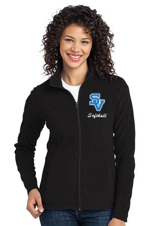 Women's Full Zip Fleece Jacket-SV with script softball