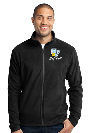 Men's Full Zip Fleece Jacket-SV Softball Design