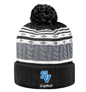 Striped Beanie-SV with softball writing design