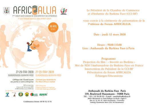 Invitation à la présentation d'Africallia 2020 Forum Ouest-Africain de développement des entreprises