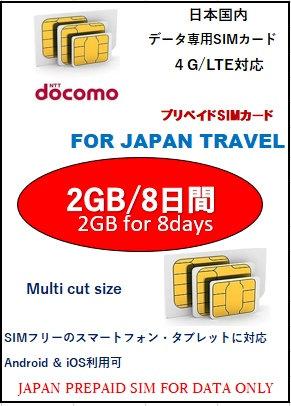 Docomo 2GB/8日間 プリペイドSIMカード(データ専用)