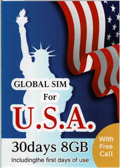 AT&T 8GB/30日間 通話付きアメリカ本土 ・ハワイ プリペイドSIM