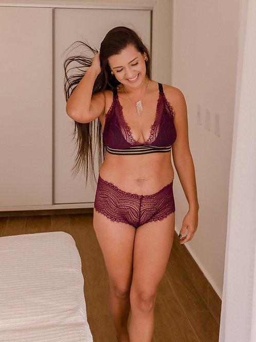 Top Felicidade púrpura & preto