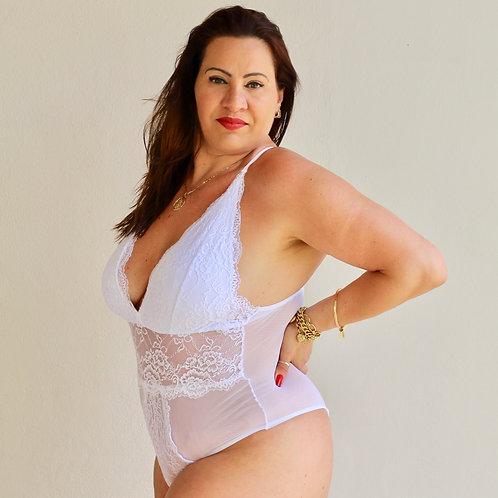Body Deusa Branco com tule