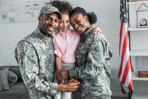 African american female and male soldier