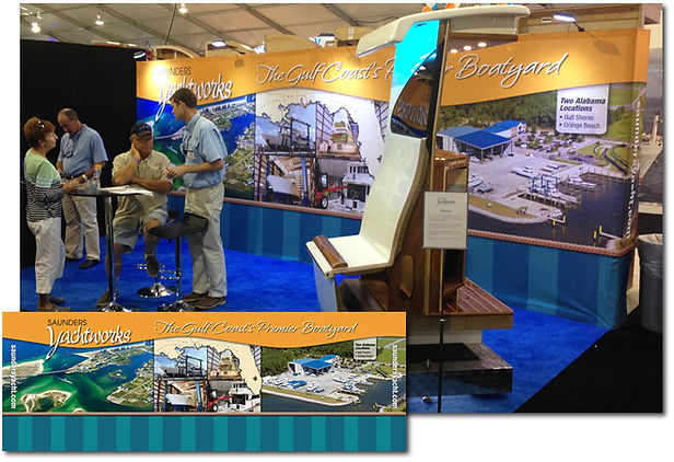 Saunders Yachtworks boat show backdrop