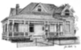 Historic Home Pen & Ink Drawing