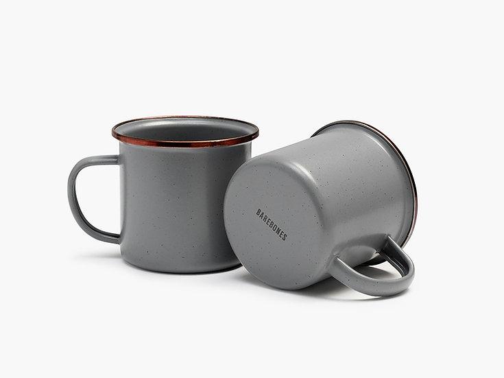 Barebones Enamel Cup Slate Gray Set of 2