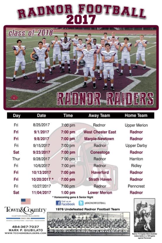 2017 Radnor Red Raiders Football Schedule