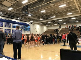 Fans, cheerleaders, and the team all joined on the court in celebration following Perkiomen Valley's 52-45 victory over Spring Ford in the PAC title game Photo Credit @raydunne21 photography