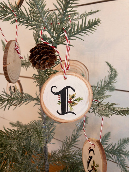 Initial Ornaments- 3 inch wood rounds