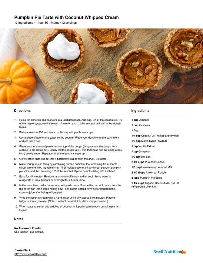 Pumpkin Pie Tarts with Coconut Whipped Cream