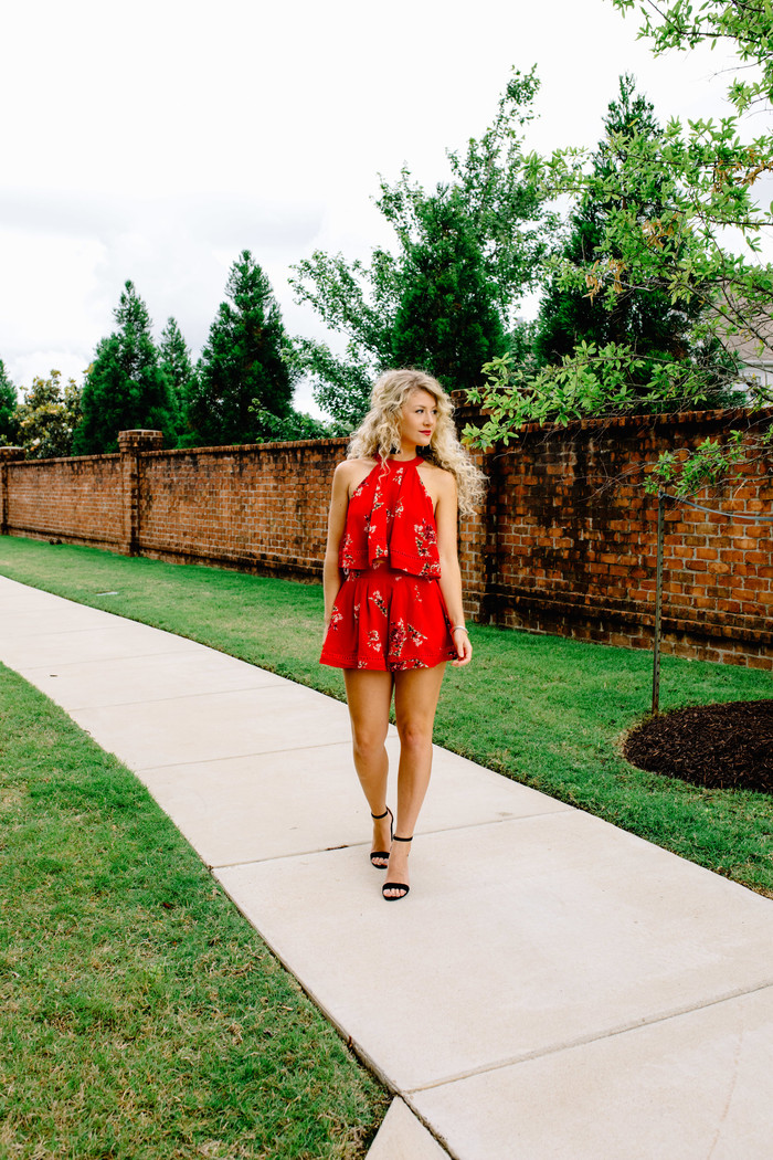 LOVE STREET TWO PIECE SET IN RED FLORAL