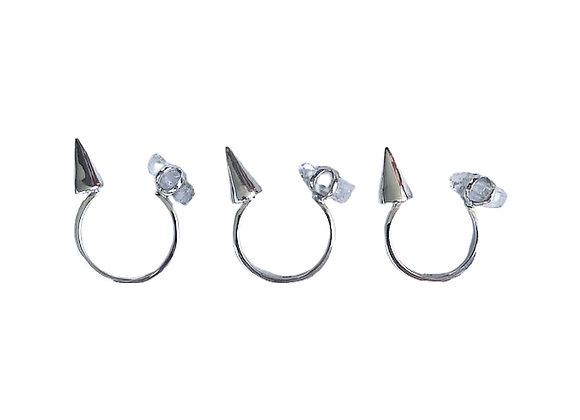Quartz & Spike Ring Set