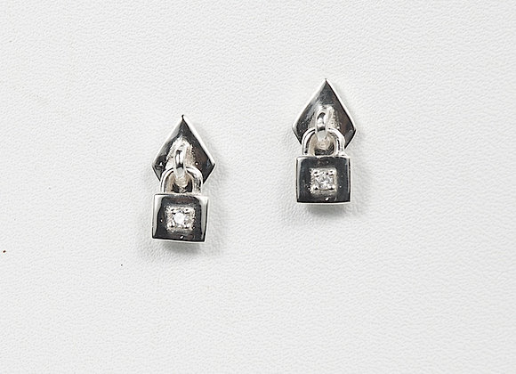 Sterling Silver Lock Earring CZ