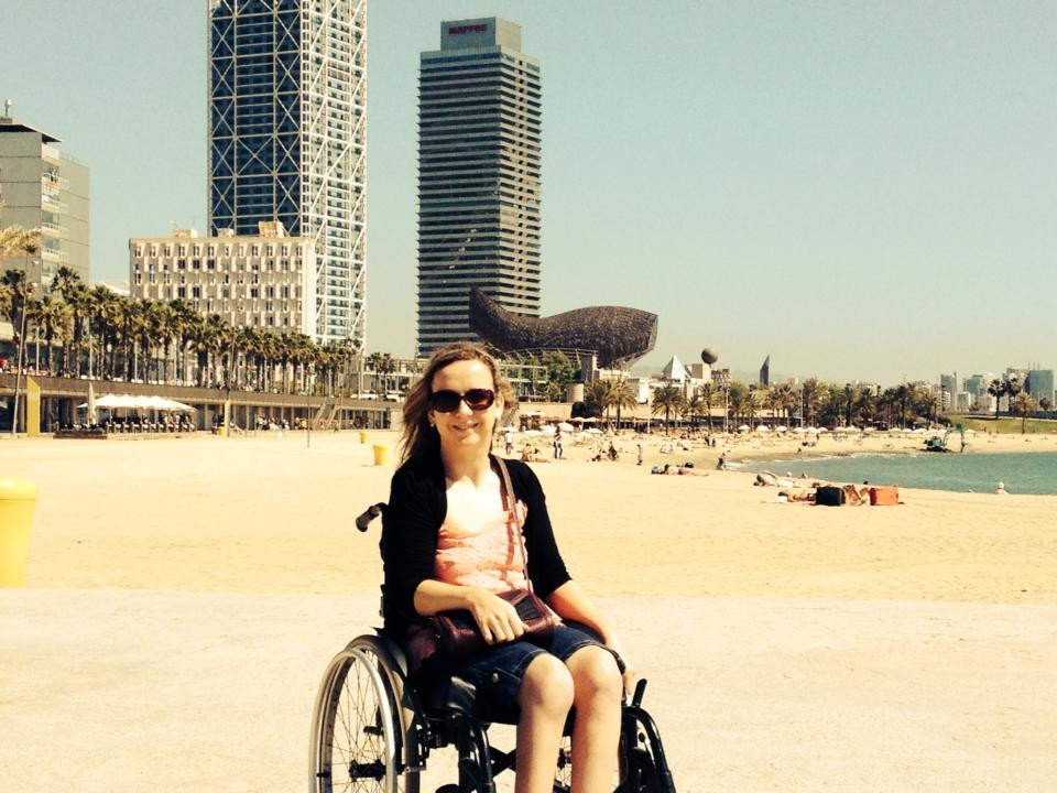 Carrie-Ann Lightley Disabled Travel Blogger on Barceloneta Beach