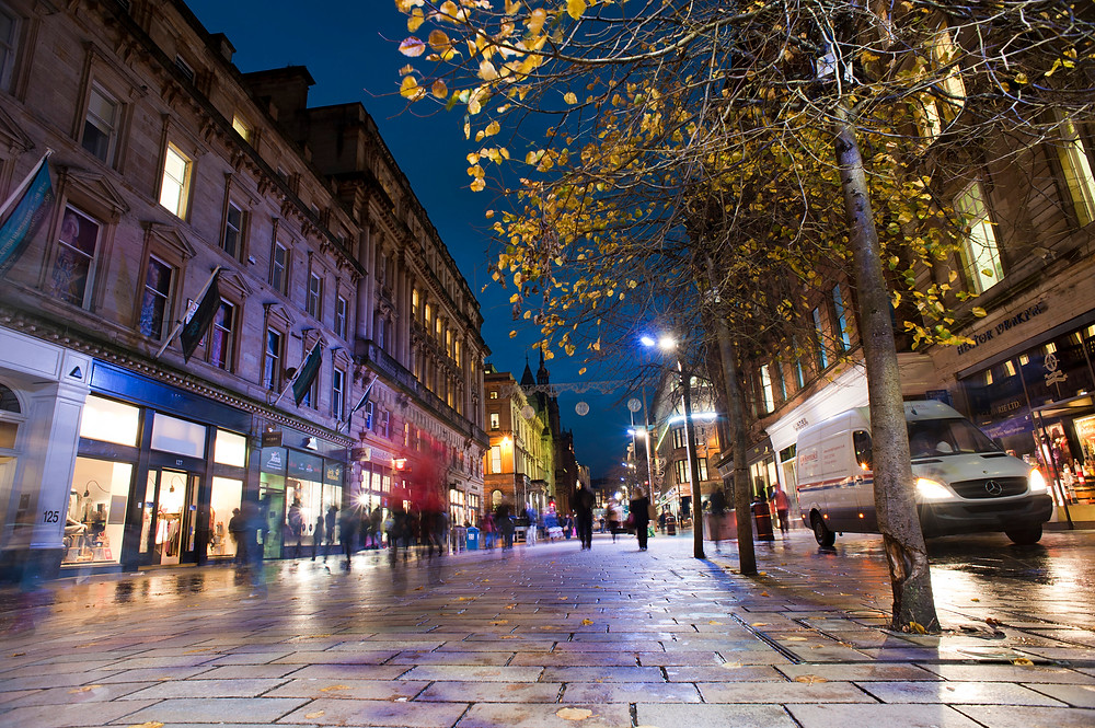 Buchanan Street, Glasgow at night