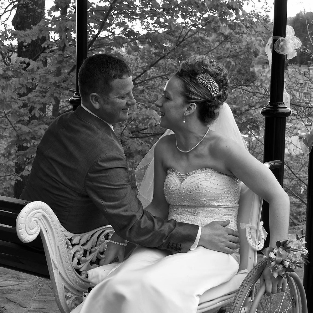 Carrie-Ann and her husband on their wedding day
