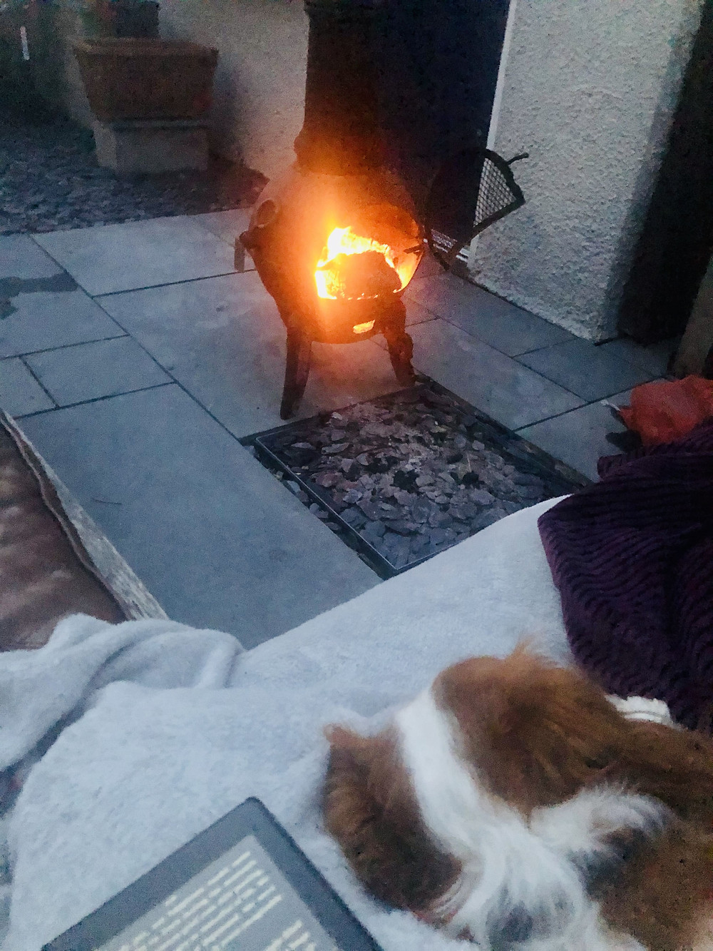 Disabled lockdown holiday at home - chimenea burning
