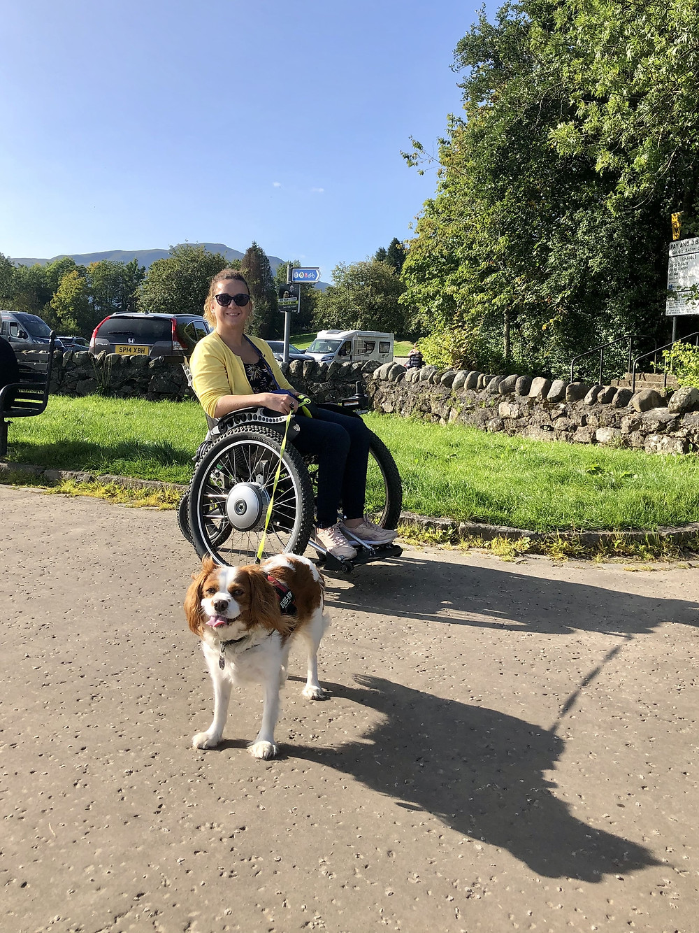 Carrie-Ann in her wheelchair at Callander Meadows
