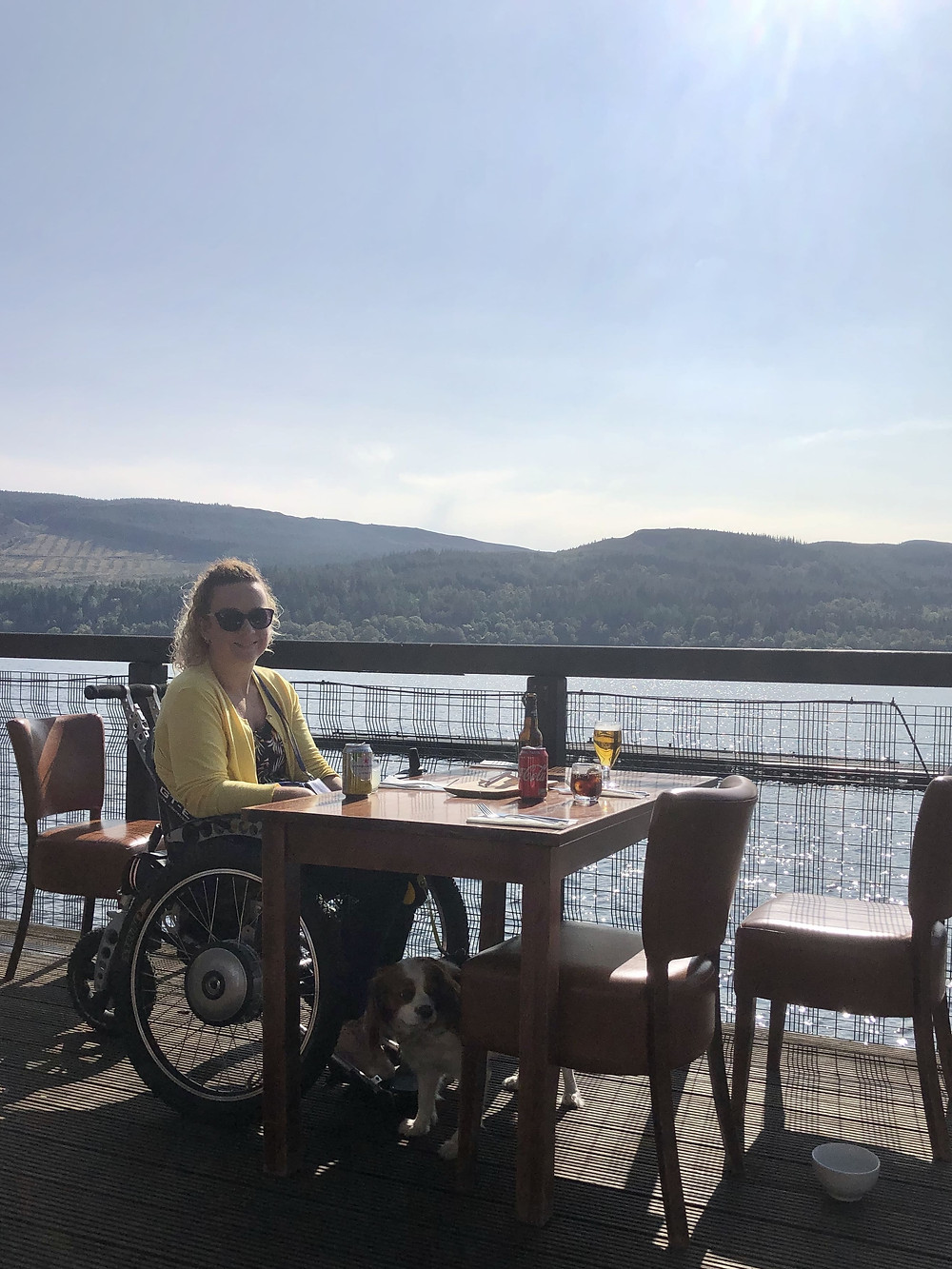 Carrie-Ann in her wheelchair, dining at Venachar Lochside