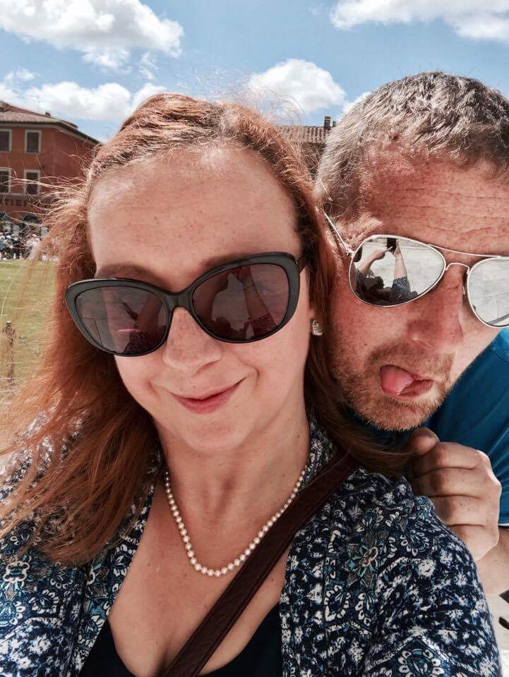 Carrie-Ann Lightley Disabled Travel Blogger and husband Darren enjoying a holiday in Pisa, Italy