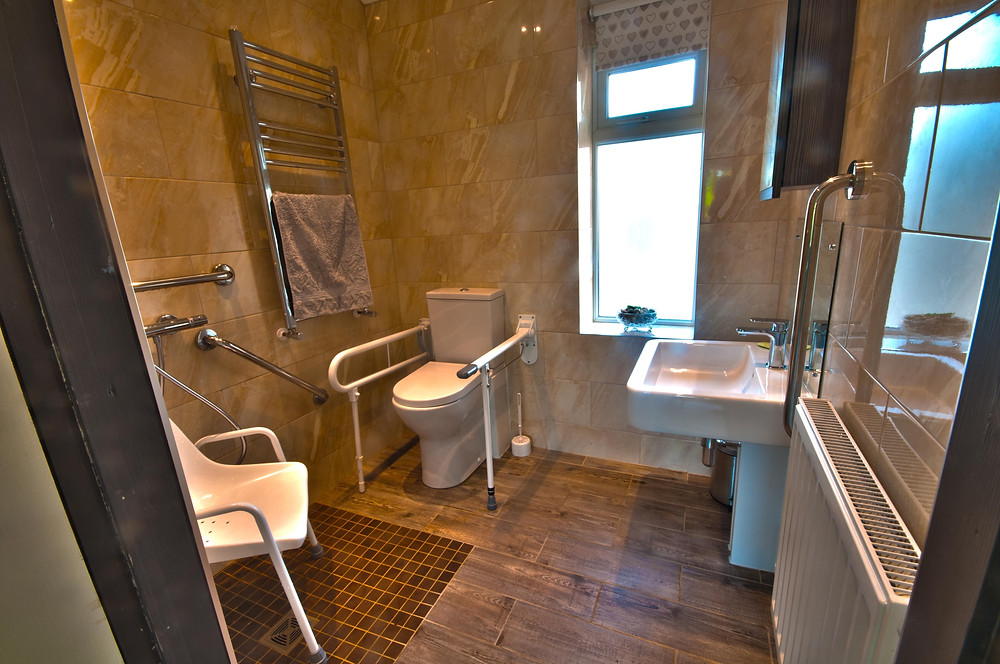 Croft Bungalow accessible bathroom with wet room shower