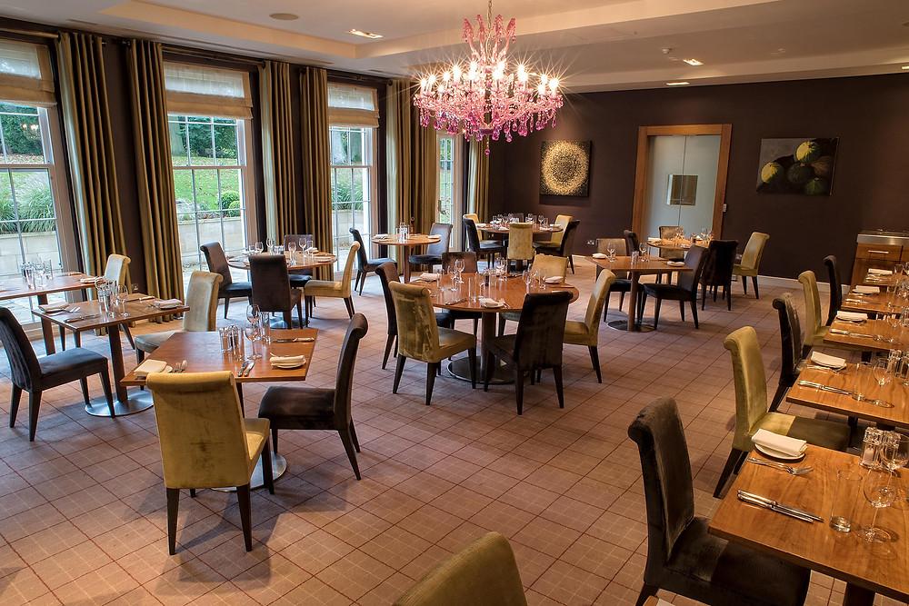 Clocktower restaurant with pink chandelier