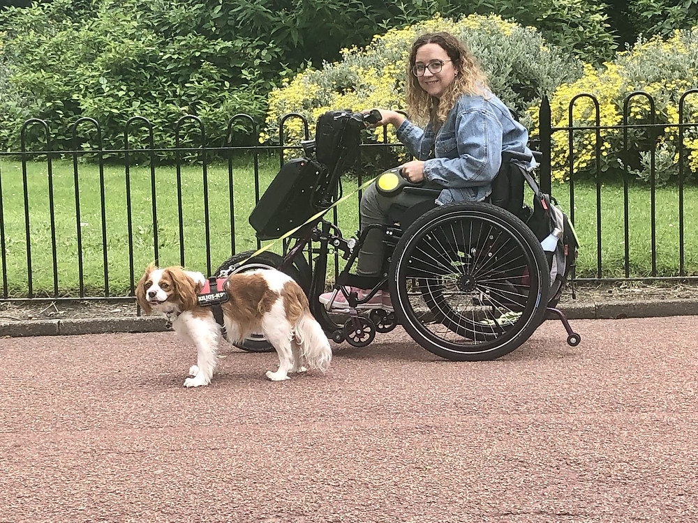 Carrie-Ann sat in her wheelchair in Roker Park