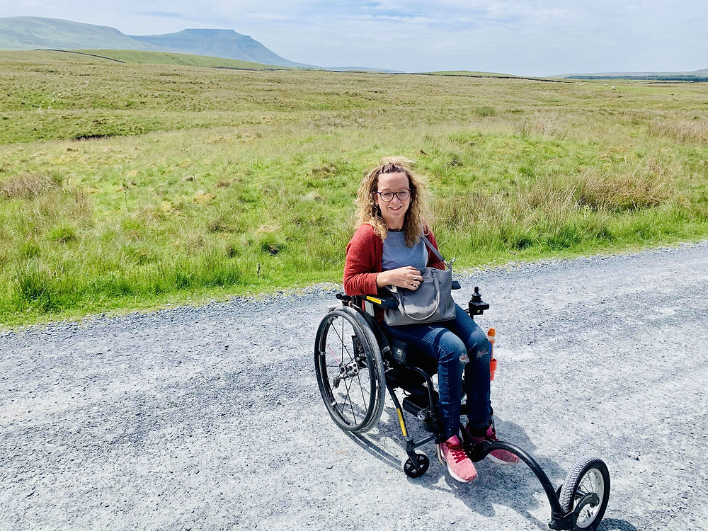Carrie-Ann using the FreeWheel at the Ribblehead Viaduct