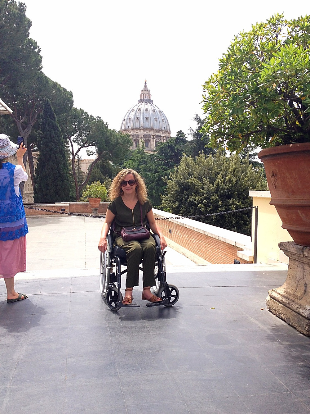 Carrie-Ann Lightley Disabled Travel Blogger in the Vatican Gardens, Rome