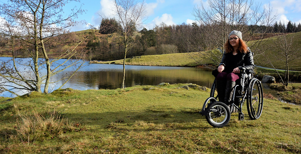 Carrie-Ann using the FreeWheel at Tarn Hows in the Lake District