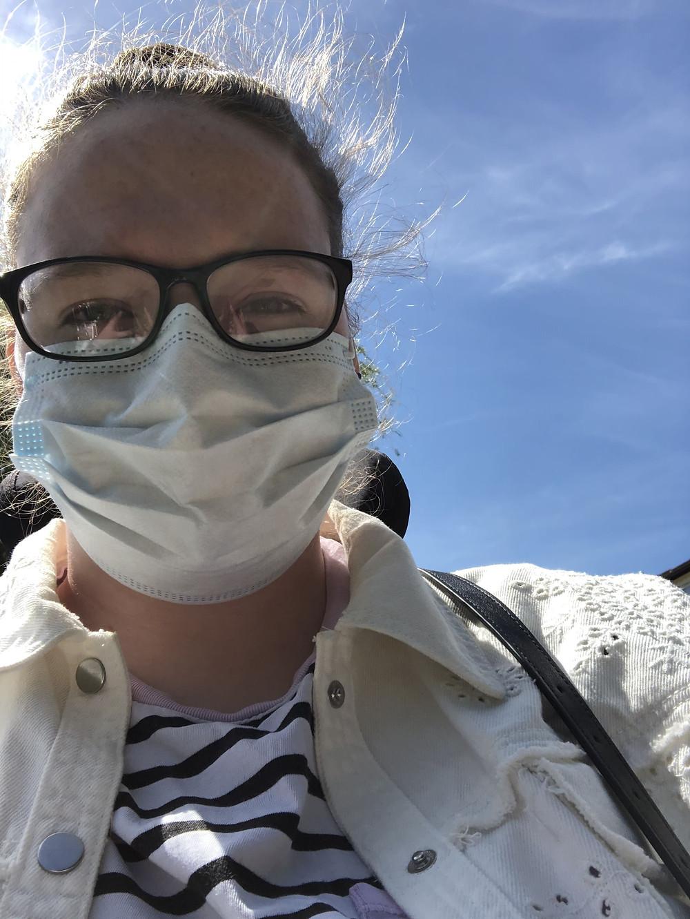 Shona wearing a face mask