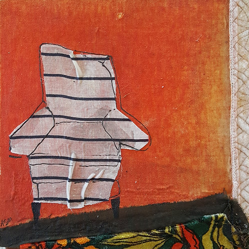Black and White Striped Chair on Orange