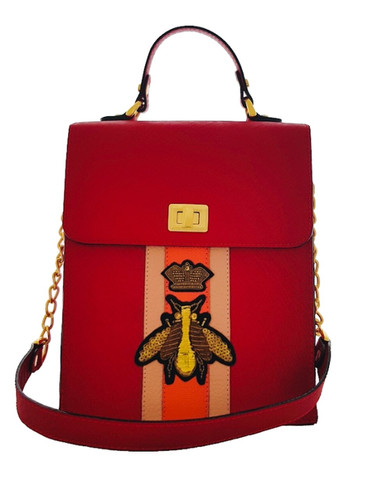 Hand Painted Red Belle Tote