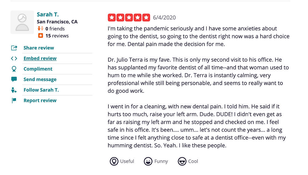 Patient review on Yelp