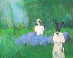 Fond vert cigogne / âne