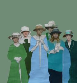 Les filles fond vert gris