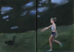 Lucie court après Beauchat