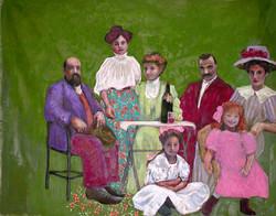 Famille fond vert