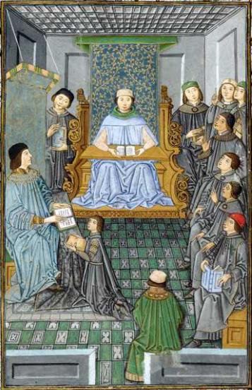 Antonio de Nebrija teaching from Introductiones Latinae in the presence of D. Juan de Zúñiga, 1486. Biblioteca Nacional, Madrid.