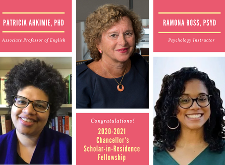 Meet the 2020-2021 Recipients of the Chancellor's Scholar-in-Residence Fellowship