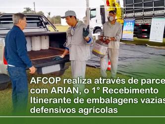 AFCOP realiza através de parceria com ARIAN, o 1° Recebimento Itinerante de embalagens vazias de def
