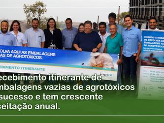 Recebimento itinerante de embalagens vazias de agrotóxicos é sucesso e tem crescente aceitação anual