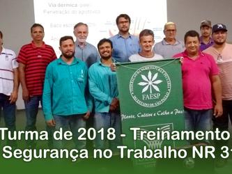 3ª Turma de 2018 - Treinamento de Segurança no Trabalho NR 31.8