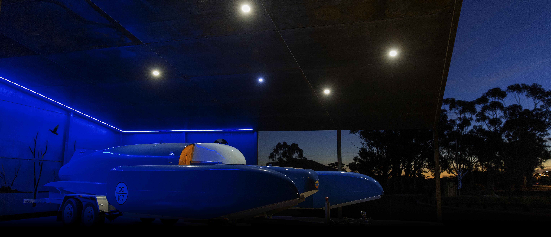 Bluebird Replica at Night