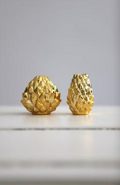 Set 6: goldige Ananasväschen