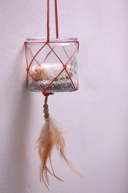 Teelichtglas hängend