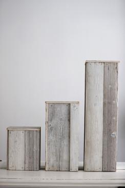 3er Set Altholzsäulen in weiss (ideal für die Kirche oder freie Trauungen)